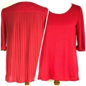 Kim Rogers Pleat Back Red Top 3/4 Sleeve